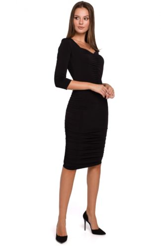 Ołówkowa sukienka z marszczeniem czarna