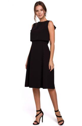 Elegancka sukienka z zakładkami czarna