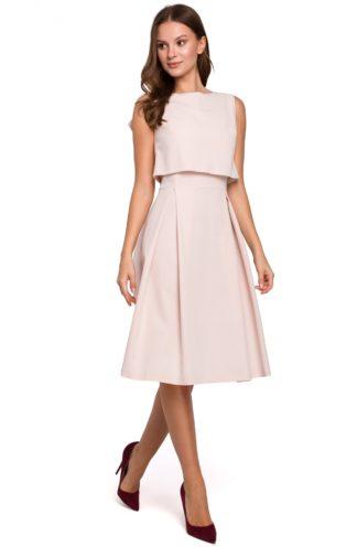 Elegancka sukienka z zakładkami beżowa