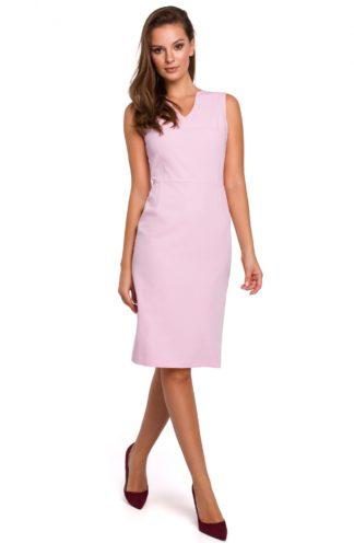 Ołówkowa sukienka do pracy lila