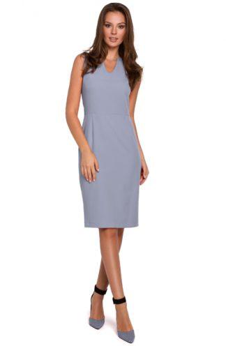 Ołówkowa sukienka do pracy szara