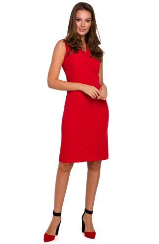Ołówkowa sukienka do pracy czerwona