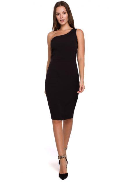 Ołówkowa sukienka na jedno ramię czarna