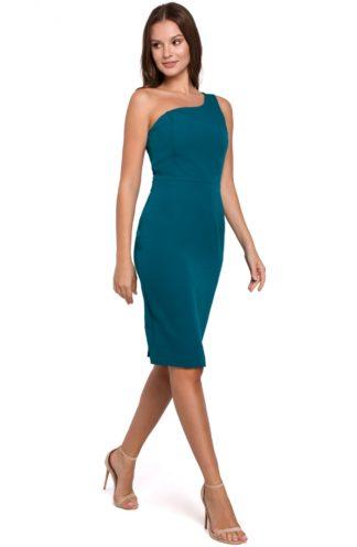 Ołówkowa sukienka na jedno ramię morski
