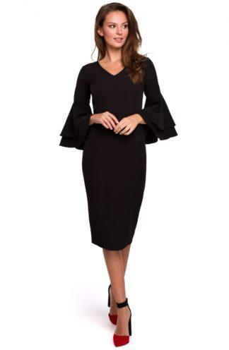 Sukienka midi z rękawami z falban czarna