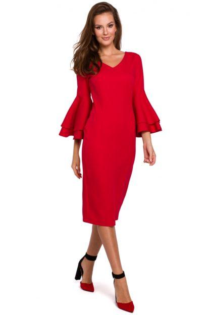 Sukienka midi z rękawami z falban czerwona