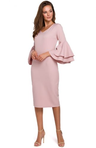 Sukienka midi z rękawami z falban różowa