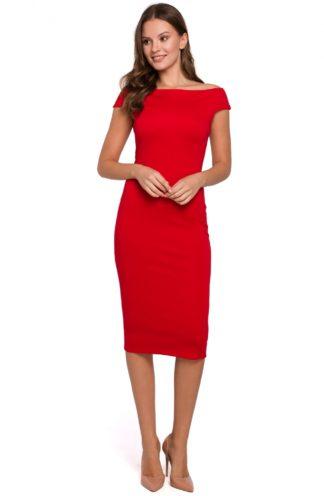Sukienka z opadającymi ramionami czerwona