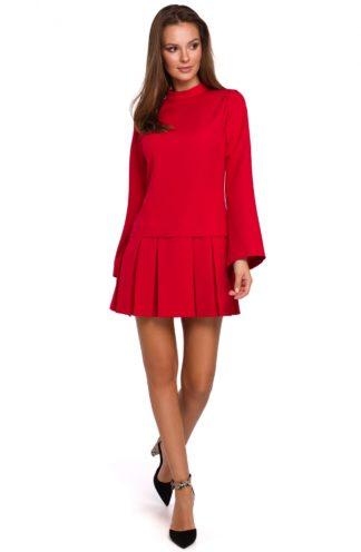 Sukienka z kontrafałdami czerwona