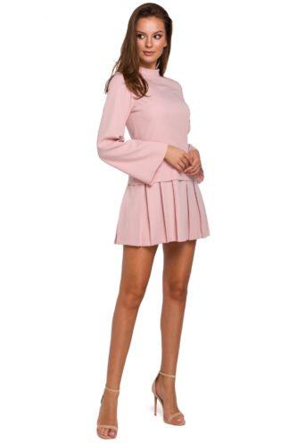 Sukienka z kontrafałdami różowa