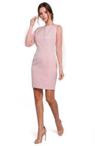 Ołówkowa sukienka z przezroczystymi rękawami różowa