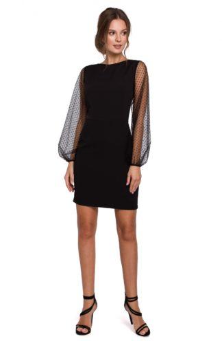 Ołówkowa sukienka z przezroczystymi rękawami czarna