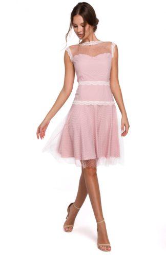 Tiulowa sukienka w groszki różowa
