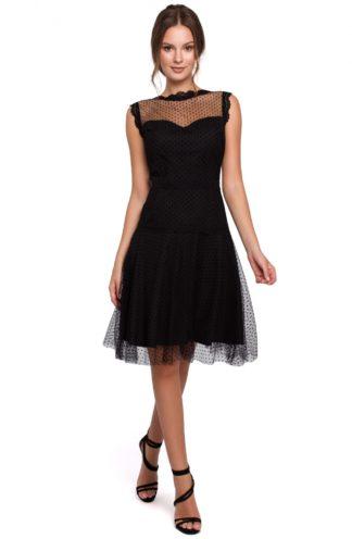 Tiulowa sukienka w groszki czarna