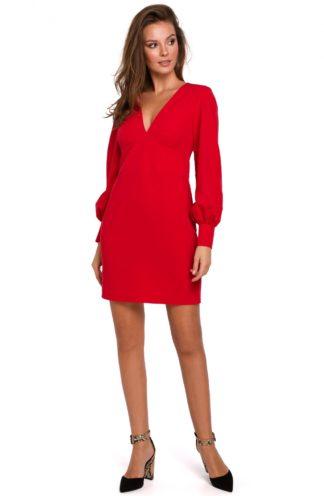 Sukienka z bufiastymi rękawami czerwona
