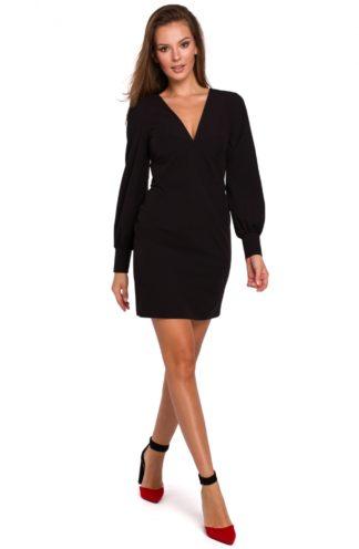 Sukienka z bufiastymi rękawami czarna