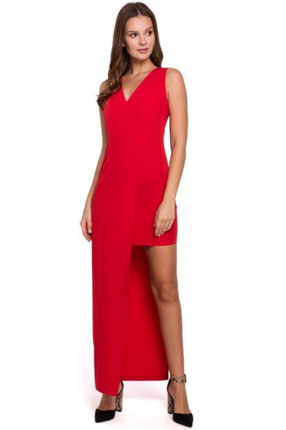 Asymetryczna sukienka maxi czerwona