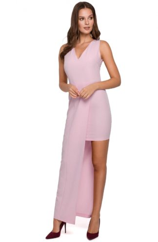 Asymetryczna sukienka maxi różowa