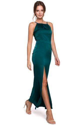 Błyszcząca sukienka maxi zielona