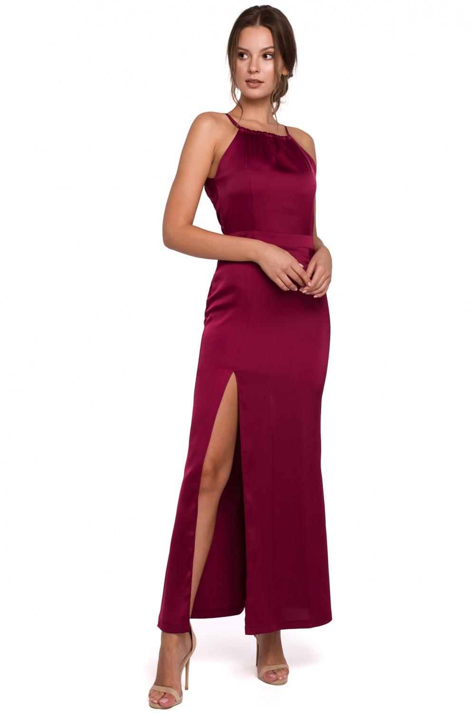 Błyszcząca sukienka maxi bordowa