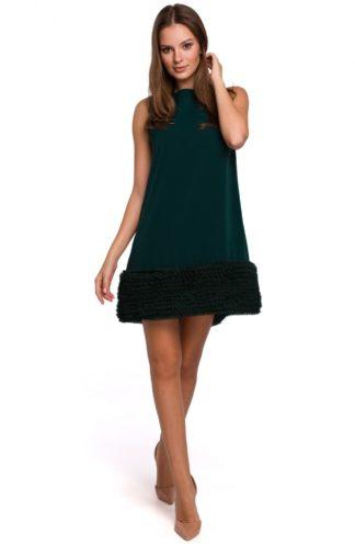 Trapezowa sukienka z tiulem zielona