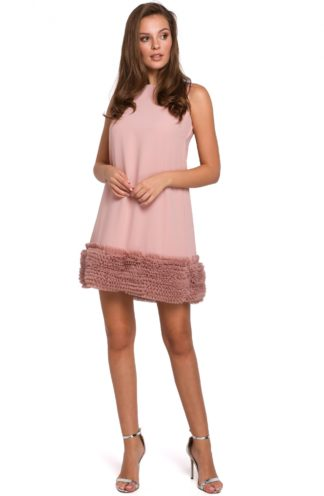 Trapezowa sukienka z tiulem różowa