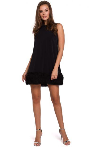 Trapezowa sukienka z tiulem czarna