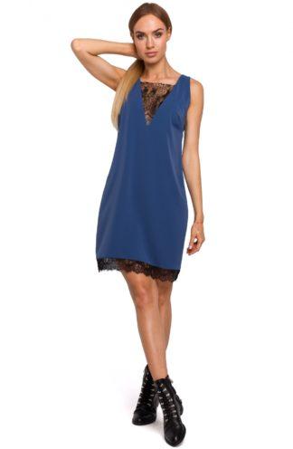 Sukienka z dekoltem z koronki niebieska
