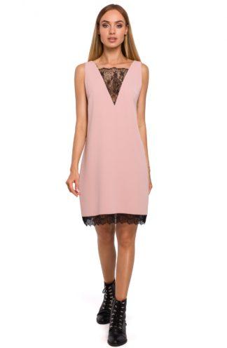 Sukienka z dekoltem z koronki różowa