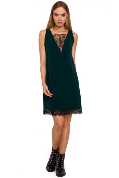 Sukienka z dekoltem z koronki zielona