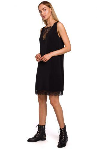 Sukienka z dekoltem z koronki czarna