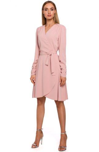 Sukienka o kopertowym kroju różowa