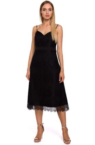 Koronkowa sukienka midi czarna
