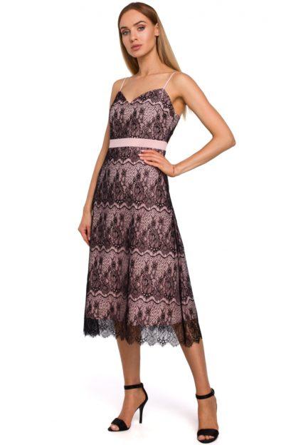 Koronkowa sukienka midi różowa