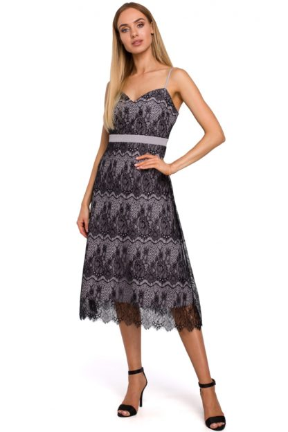 Koronkowa sukienka midi szara