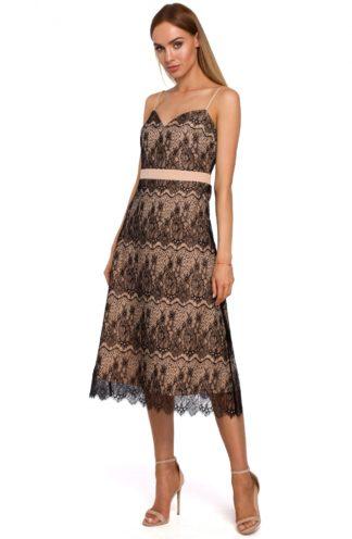 Koronkowa sukienka midi beżowa