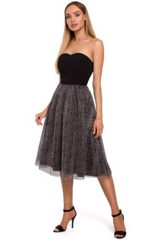 Gorsetowa sukienka z tiulem czarna