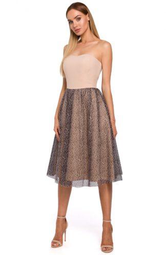 Gorsetowa sukienka z tiulem beżowa