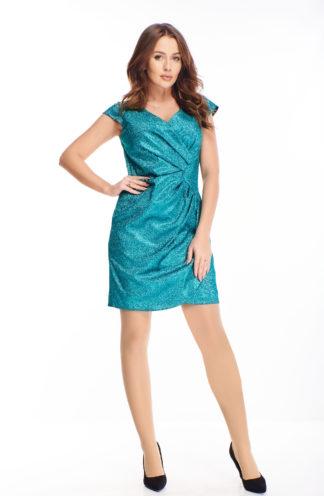 Błyszcząca sukienka z kopertowym dekoltem