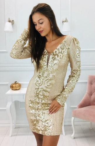 Dopasowana złota sukienka z cekinów