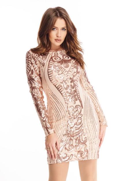 Cekinowa sukienka z długim rękawem