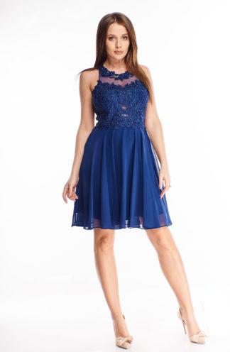 Tiulowa sukienka mini z haftem