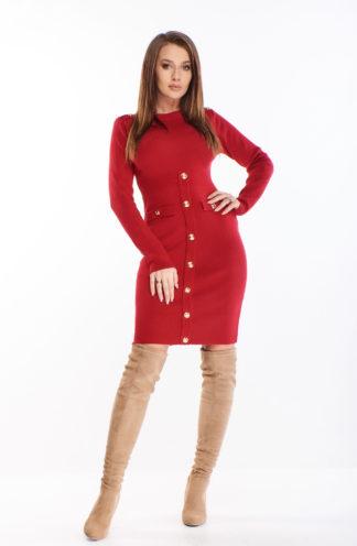 Prążkowana sukienka z rękawem i guzikami