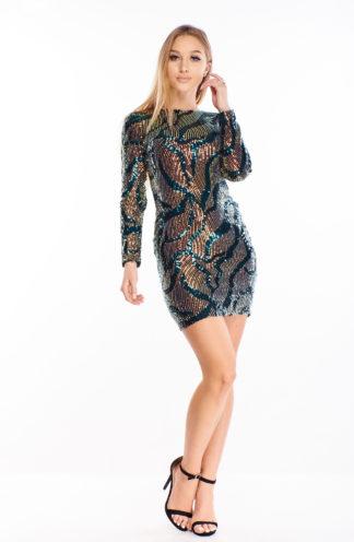 Kolorowa sukienka z cekinów we wzory