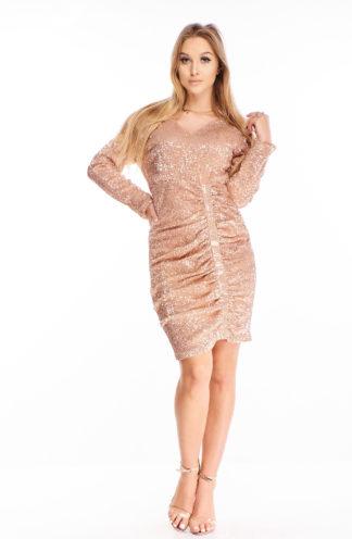 Cekinowa sukienka z drapowaniem