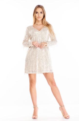 Cekinowa sukienka z rękawami beżowa