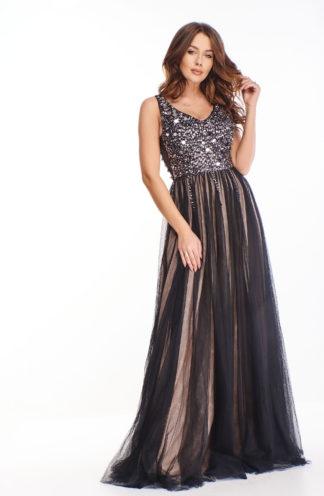 Ekskluzywna długa suknia z tiulowym dołem
