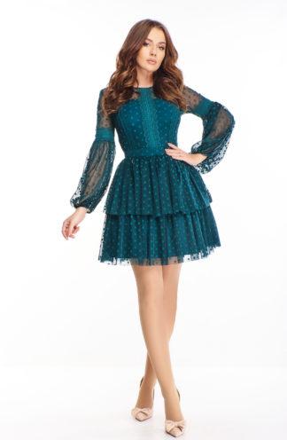 Rozkloszowana sukienka z tiulem w groszki