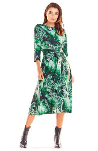 Wiązana sukienka midi w liście
