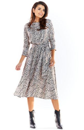 Wiązana sukienka midi we wzory szara